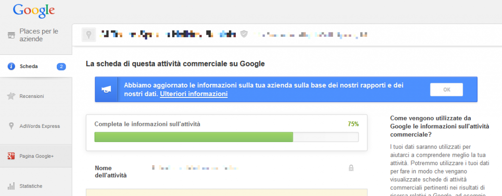 Rivendicare la scheda Google Places non basta