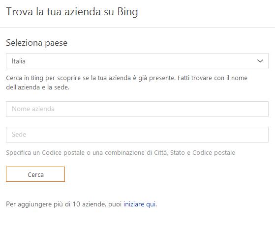 Bing Places per le aziende