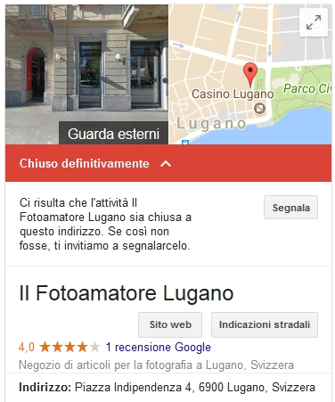 Sede Chiusa Definitivamente Google My Business