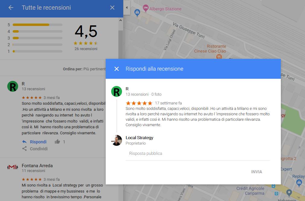 Risposta recensioni da Maps